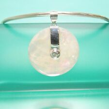 """1 1/2"""" Round White Mother of Pearl Shell Handmade Pendant 925 Sterling Silver"""