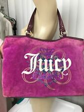 Juicy Couture Tote Bag Extra Large Velour & Leather Handbag Burgundy - Purple