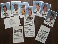 11 Pittsburgh Pirates Player Photo Cards with Advertising Backs (Coke, Bud, etc)