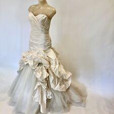 Designer Silk Draped Ballroom Wedding Dress Size 12 By Halo With Tulle & Beading
