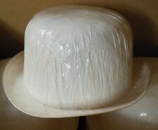 Lot of 3 White Cellophane Derbies (Bowlers) Hat Bases Theatrical need to glitter
