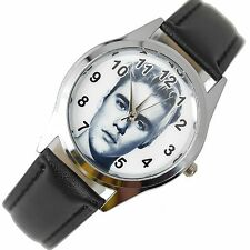 JUSTIN BIEBER MUSIC POP STAR SINGER SS Steel BLACK LEATHER BAND ROUND CD WATCH