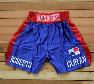 BOXING TRUNKS Roberto Duran Hand of stone Blue Red SHORTS Pants size L rare