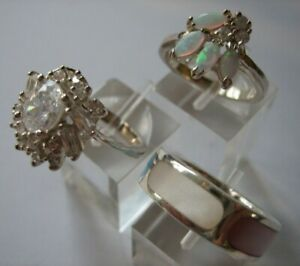 3x Very Attractive Sterling Silver Rings 2 Stone Set 1 with Pearly Enamel Insets