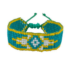 Lux Accessories Turquoise/Yellow Multi Color Tribal Pattern Seed Bead Bracelet