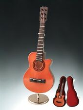 """7"""" GUITAR INSTRUMENT MUSIC BOX+CASE+METAL STAND """"YOU ARE MY SUNSHINE""""-GR18BR-RO"""
