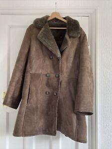 """Vintage Shearling Coat Jacket Size 18 44"""" Bust Real Sheepskin"""
