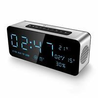Radio Reloj Despertador Digital Con Altavoz Bluetooth Carga USB AUX Temperatura