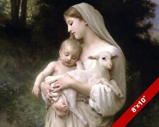 Woman & Child, Mary, Lamb & Christ Christian PEACE Art 8X10 CANVAS GICLEE PRINT