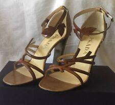 PRADA - VTG,Brown Leather, Leaves & Vines, High Heel Sandals 39,5 Retail 889.99