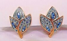 Signed Swarovski Earrings Gold Plated Blue Purple Pave Leaf Clip On