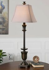 "TRANSITIONAL OIL RUBBED BRONZE GOLD LINEN VIGGIANO TABLE BUFFET LAMP 36""H, S/2"