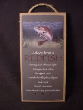 Advice From A Redfish Wood Inspirational Sign wall Plaque red fish fisherman Usa