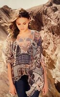 💕JOHNNY WAS Embroidered NATIVE DREAMS Silk 4 LOVE & LIBERTY Tunic Blouse S $248