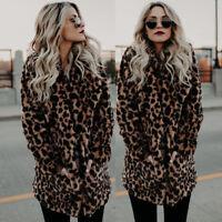 Women Faux Fur Leopard Print Winter Warm parka Jacket Trench Coat Overcoat Top