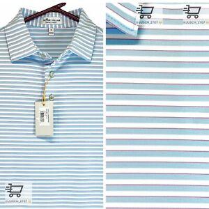 PETER MILLAR Crown Summer Comfort Golf Polo Shirt ⛳️ MEDIUM M ⛳️ White Striped