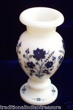 "7"" White Marble Inlay Art Flower Vase Pot Lapis Gemstone Floral Arts Decor Gifts"
