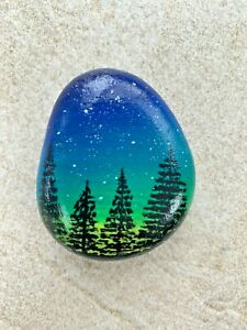 Hand painted Rock/Pebble Starry Night
