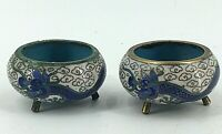 Pair Antique Chinese Cloisonne Miniature Incense Burner Footed Censers Dragon