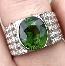 MENS! 7.64TCW Green Sapphire Diamonds 18k Solid White Gold Handmade Ring Natural