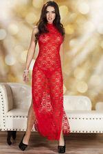 Red Sheer dentelle Cheongsam style Robe robe robe de lingerie Taille UK 10-12