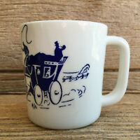 Stagecoach Mug Vitrock Ivory Milk Glass Anchor Hocking Fire King Hard to Find