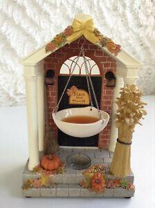 """Yankee Candle FALL AUTUMN DOOR 10"""" Tea Light Tart Burner Illuminated RARE HTF"""