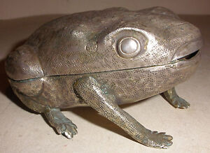 solid heavy antique Continental or  Eastern Asian silver  frog  box