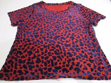 PRIMARK FAB RED & NAVY BLUE FLOCK VELVET DALMATION SHAPES SHORT SLEEVE TOP UK 16