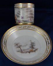 Antique Old Paris French Porcelain Cheating Bird Scene Cup & Saucer Vieux de