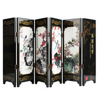 6 Panel Mini Folding Screen Tabletop Wooden Chinese Art Screens Home Decorat