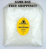 WHITE BEESWAX BEES WAX  by H&B Oils Center ORGANIC PASTILLES BEADS 32 OZ, 2 LB