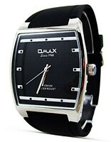 New Fashion Dress Style Omax Mens Watch Black Strap Silver Border Analog Quartz