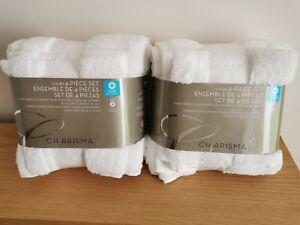 Charisma white Luxury 2x4 piece set  4x hand towels 4x wash cloths Hygro Cotton