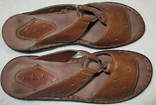 """Clarks 8M Mules Sandals Tan/Brown Leather Made in Brazil 1"""" Heel Comfort Shoes"""
