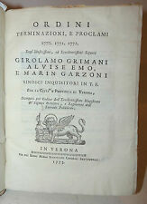 Repubblica Veneta  Economia - Inquisitori Verona 1775 Grimani Emo Garzoni Ordini