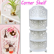 White Carved 4Tier Wall Mounted Corner Shelf Shower Storage Rack Stand Display A