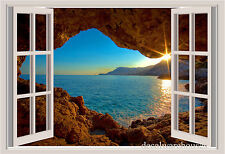 Island Cave Window View Repositionable Color Wall Sticker Wall Mural