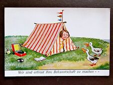 Vintage Wills Postcard GIRL TENT DUCKS RECORD PLAYER MUSIC BOOK PENNANT