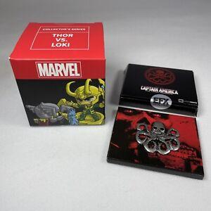 Marvel Lootcrate Bundle Thor Vs Loki Mini Figure & Captain America Pin Badge NEW