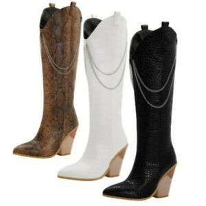 Runway Womens Faux Leather Block Heel Pointy Toe Cowboy Cowgirls Knee High Boots