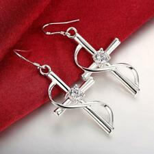 Womens 925 Sterling Silver CZ Crystal Holy Cross Fashion Dangle Earrings #E11