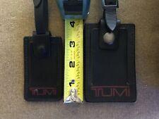 "2 tumi leather small mini 3"" and 4""luggage tags black matching design logo"