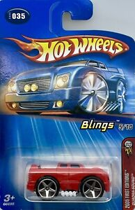2005 Hot Wheels First Editions Red Quadra-sound Blings 5/10 Card # 035