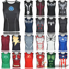 Mens Superhero T Shirt Vests Compression Layers Tight Tops Cycling Sports Jersey