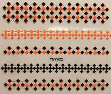 Nail Art 3D Decal Stickers Neon Orange & Black Square Design Pattern YGYY025
