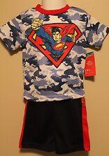 BOYS 12 months Superman mesh 2-piece outfit NWT t-shirt & short set DC Comics