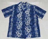 Milson by KY's mens Hawaiian Shirt floral blue white Sz XL Made in USA HAWAII