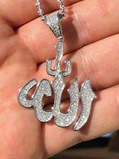 Mens Allah Islam Pendant 1ct Man Made Diamond Solid Sterling Silver 925 Diamond
