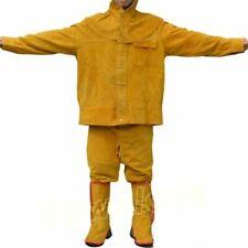 Brown Flame Resistant Leather Welders Set Welding Jackets Amp Pants Work Clothing